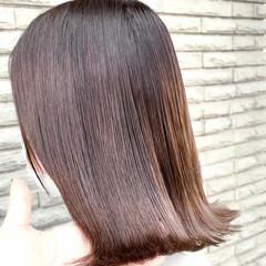 切りっぱなしボブ ストリート ミディアム 外ハネ ヘアスタイルや髪型の写真・画像