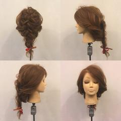ヘアアレンジ セミロング 編み込み 波ウェーブ ヘアスタイルや髪型の写真・画像