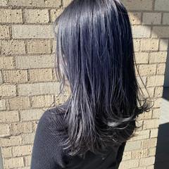 セミロング モード ブルージュ ネイビーカラー ヘアスタイルや髪型の写真・画像