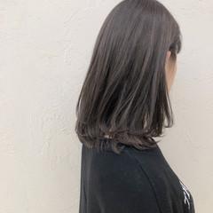 ブラウンベージュ ダブルカラー 透明感カラー ミディアム ヘアスタイルや髪型の写真・画像