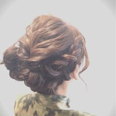 くるりんぱ ヘアアレンジ 編み込み パーティ ヘアスタイルや髪型の写真・画像