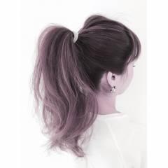 春 ポニーテール ガーリー ヘアスタイルや髪型の写真・画像