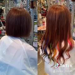 デザインカラー 切りっぱなしボブ 派手髪 インナーカラー ヘアスタイルや髪型の写真・画像