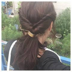 くるりんぱ ツイスト ロング ヘアアレンジ ヘアスタイルや髪型の写真・画像