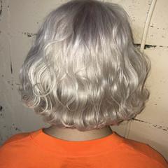 ヘアアレンジ ホワイト ハイトーン ハイライト ヘアスタイルや髪型の写真・画像