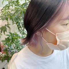イヤリングカラーピンク 韓国ヘア ボブ ピンクラベンダー ヘアスタイルや髪型の写真・画像