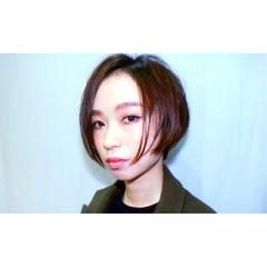 小顔 ボブ アッシュ 大人女子 ヘアスタイルや髪型の写真・画像