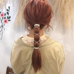 簡単ヘアアレンジ ブリーチ ナチュラル 紐アレンジ ヘアスタイルや髪型の写真・画像