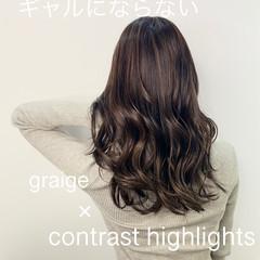コントラストハイライト エレガント 極細ハイライト ハイライト ヘアスタイルや髪型の写真・画像