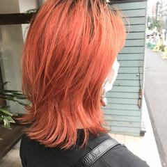 ニュアンスウルフ ストリート マッシュウルフ アプリコットオレンジ ヘアスタイルや髪型の写真・画像