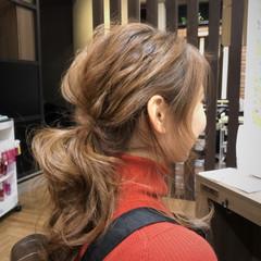 オフィス アンニュイ 簡単ヘアアレンジ セミロング ヘアスタイルや髪型の写真・画像