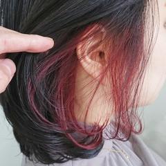 ハイライト インナーカラー ピンク 大人ハイライト ヘアスタイルや髪型の写真・画像