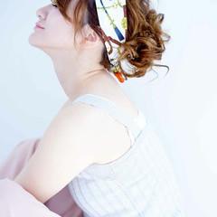 簡単 ヘアアクセ ラフ 夏 ヘアスタイルや髪型の写真・画像