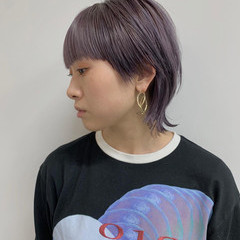 ストリート ラベンダーアッシュ ショートヘア マッシュウルフ ヘアスタイルや髪型の写真・画像