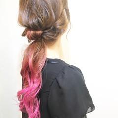 ストリート セミロング ショート 簡単ヘアアレンジ ヘアスタイルや髪型の写真・画像