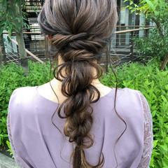 簡単ヘアアレンジ ロングヘアスタイル 透明感カラー セミロング ヘアスタイルや髪型の写真・画像