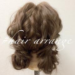 セミロング 簡単ヘアアレンジ ゆるふわ ヘアアレンジ ヘアスタイルや髪型の写真・画像
