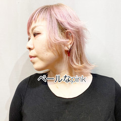 ウルフカット ラベンダーピンク ベリーピンク ボブ ヘアスタイルや髪型の写真・画像