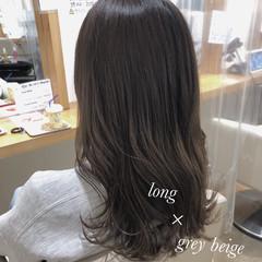 透け感アッシュ セミロング グレージュ 透明感カラー ヘアスタイルや髪型の写真・画像