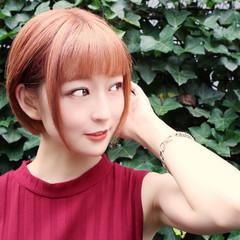 耳かけ ミニボブ オレンジカラー ボブ ヘアスタイルや髪型の写真・画像