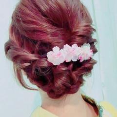 アップスタイル 花火大会 セミロング 和装 ヘアスタイルや髪型の写真・画像