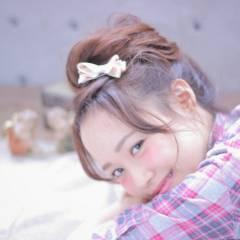 ゆるふわ ヘアアレンジ 前髪なし 大人かわいい ヘアスタイルや髪型の写真・画像