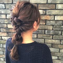 セミロング 簡単ヘアアレンジ フェミニン ゆるふわ ヘアスタイルや髪型の写真・画像