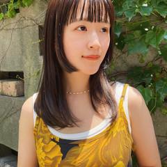 髪質改善 セミロング 暗髪 前髪あり ヘアスタイルや髪型の写真・画像