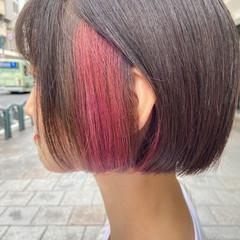 ブリーチ ボブ ブリーチカラー 暖色 ヘアスタイルや髪型の写真・画像