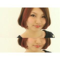 ボブ インナーカラー ナチュラル ピンク ヘアスタイルや髪型の写真・画像