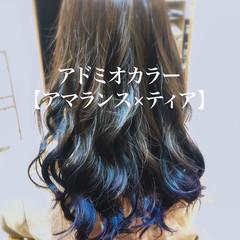 バレイヤージュ ハイトーンカラー グラデーションカラー ガーリー ヘアスタイルや髪型の写真・画像