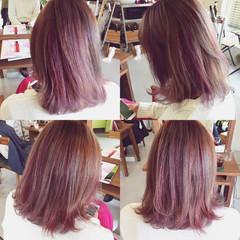 ストリート ボブ ピンク グラデーションカラー ヘアスタイルや髪型の写真・画像