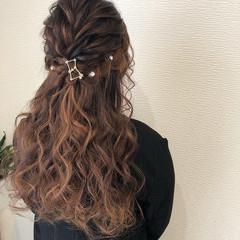 結婚式ヘアアレンジ ヘアアレンジ ヘアセット ハーフアップ ヘアスタイルや髪型の写真・画像