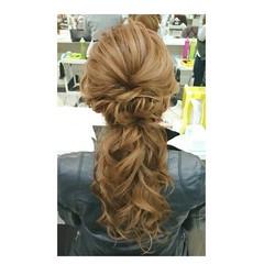 結婚式 ゆるふわ フェミニン ヘアアレンジ ヘアスタイルや髪型の写真・画像