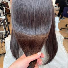 セミロング 大人ミディアム 艶髪 透明感カラー ヘアスタイルや髪型の写真・画像