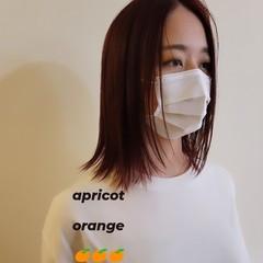 切りっぱなしボブ 外はね アプリコットオレンジ レイヤーカット ヘアスタイルや髪型の写真・画像