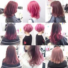 フェミニン ピンク ミディアム ハイトーン ヘアスタイルや髪型の写真・画像