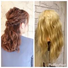 簡単ヘアアレンジ ヘアアレンジ パーティ セミロング ヘアスタイルや髪型の写真・画像