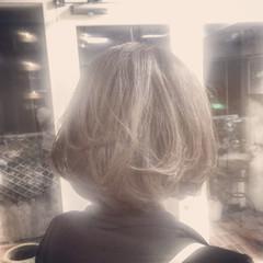 ボブ アッシュベージュ 可愛い ストリート ヘアスタイルや髪型の写真・画像