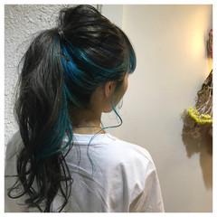 セミロング 簡単ヘアアレンジ デート ストリート ヘアスタイルや髪型の写真・画像