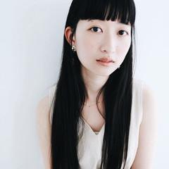 ナチュラル 黒髪 ロング 前髪あり ヘアスタイルや髪型の写真・画像