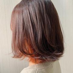 グレージュ ボブ 外国人風 オレンジ ヘアスタイルや髪型の写真・画像