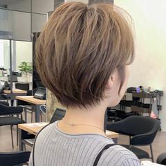 ナチュラル ショートヘア くびれボブ ショートボブ ヘアスタイルや髪型の写真・画像