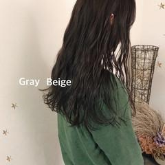 暗髪 ロング グレージュ ラベンダーグレー ヘアスタイルや髪型の写真・画像