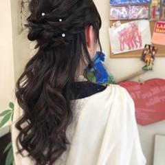 結婚式 大人かわいい ロング ゆるふわ ヘアスタイルや髪型の写真・画像