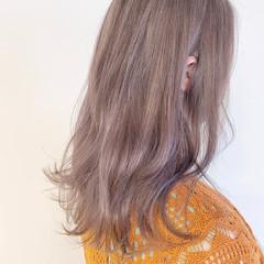 透明感カラー ラベンダー ナチュラル ピンクベージュ ヘアスタイルや髪型の写真・画像