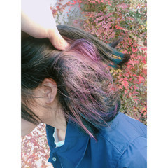 ピンク インナーカラー ミディアム ラベンダーピンク ヘアスタイルや髪型の写真・画像