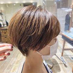 ショートボブ ショート 丸みショート ナチュラル ヘアスタイルや髪型の写真・画像