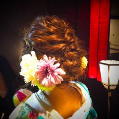 結婚式 ヘアアレンジ セミロング 和装 ヘアスタイルや髪型の写真・画像