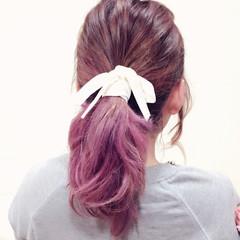 カラーバター ピンク グラデーションカラー 簡単ヘアアレンジ ヘアスタイルや髪型の写真・画像